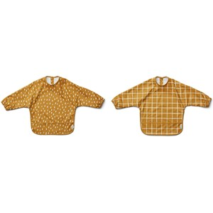 Image of Liewood 2-Pack Merle Cape Bibs Check/Graphic Stroke/Golden Caramel one size (2005194)