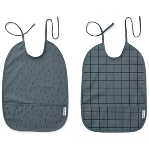 Image of Liewood 2-Pack Lai Bibs Check/Graphic Stroke/Whale Blue one size (2005195)