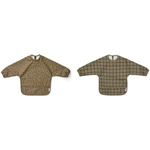 Image of Liewood 2-Pack Merle Cape Bibs Check/Graphic Stroke/Khaki one size (2005193)