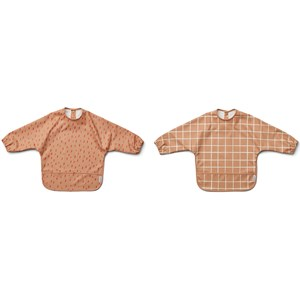Image of Liewood 2-Pack Merle Cape Bibs Check/Graphic Stroke/Tuscany Rose one size (2005192)
