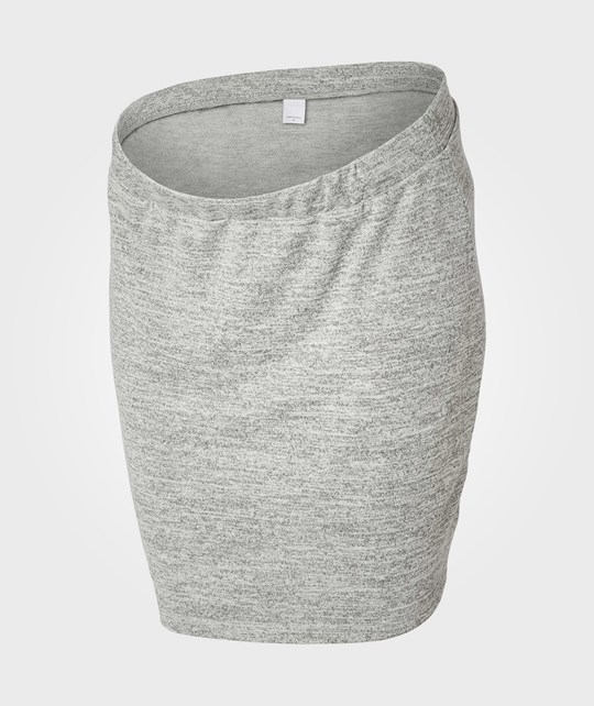 Mamalicious Heyton Short Knit Skirt Light Grey Melange Black