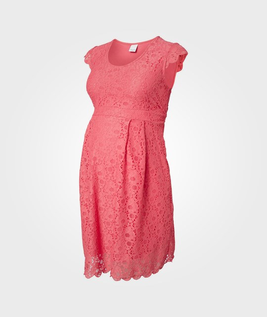 Mamalicious Cille Capsleeve Lace Dress Calypso Coral Pink