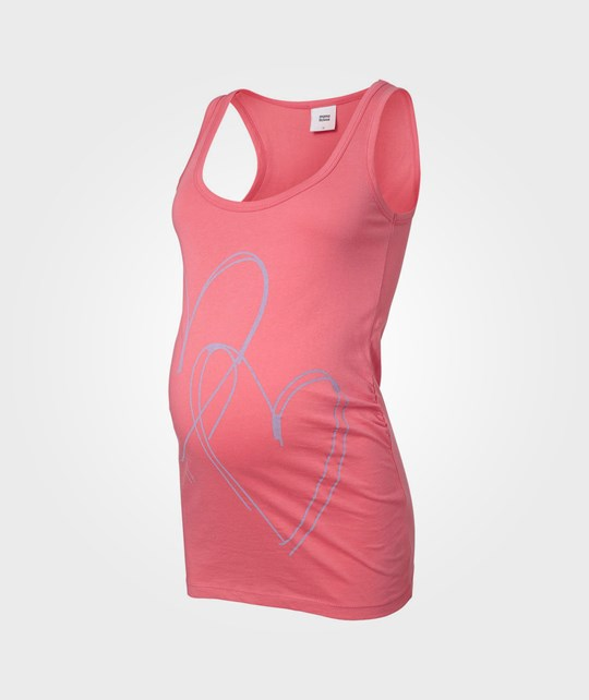 Mamalicious Heart Statement Jersey Tank Top Calypso Coral Pink