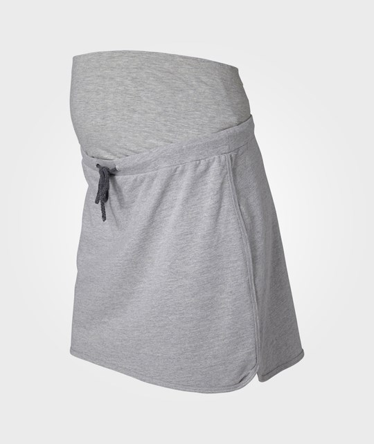 Mamalicious Jadine Short Sweat Skirt Light Grey Melange Black