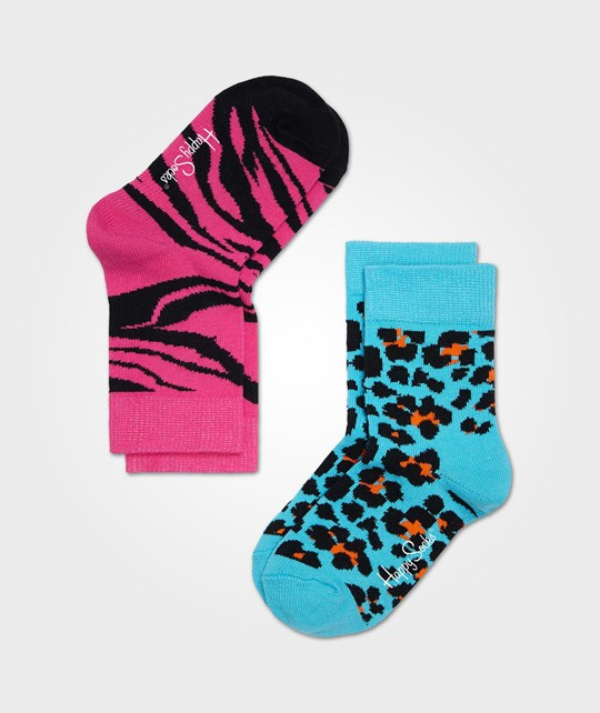 Happy Socks Leopard Zebra Blå Rosa Multi