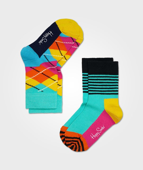 Happy Socks Argyle Turkos Gul Multi