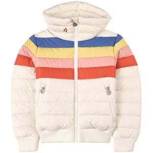 Image of Perfect Moment White and Rainbow Stripe Queenie Ski Jacket 14 år (2055167)