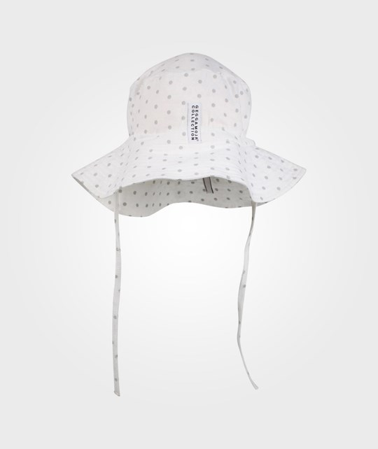 Geggamoja Sunny Hat White/Grey Dot Black
