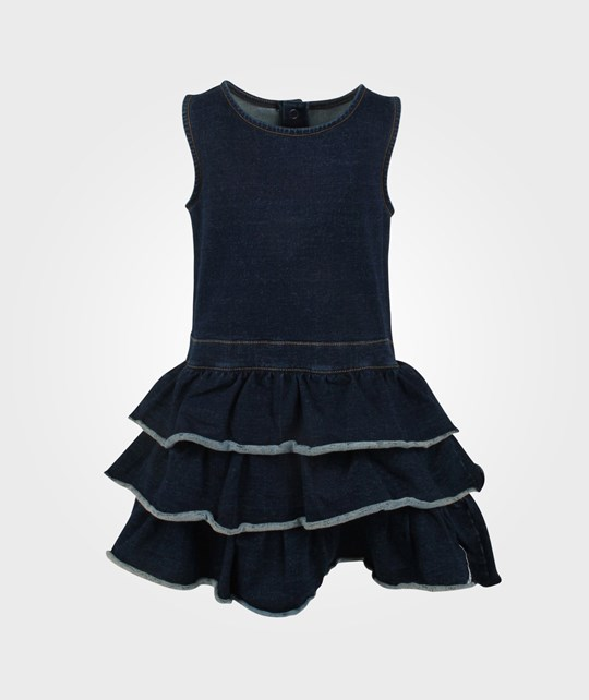 Geggamoja Flounce Dress Indigo Denim Blue
